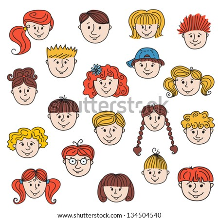 Set of smiley children faces. Doodle style illustration. Vector. - stock vector