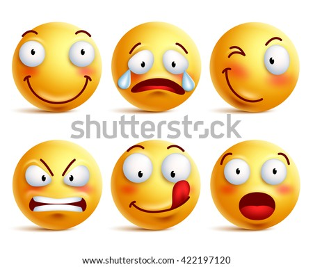 Set of smiley face icons or yellow emoticons with different facial expressions in glossy 3D realistic isolated in white background. Vector illustration  - stock vector