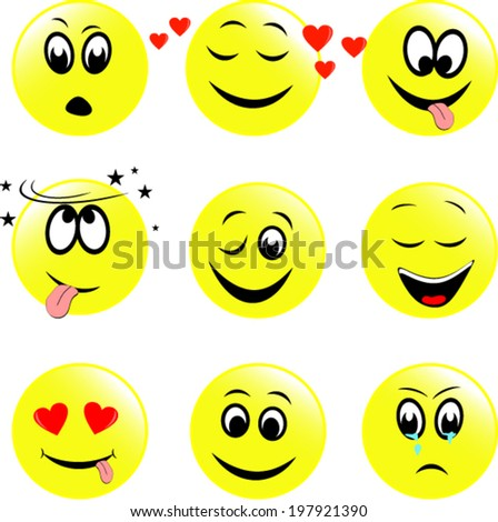 Set of  smiley faces expressing different feelings  - stock vector