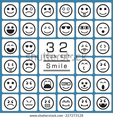 Set of smiley faces icons for web icon collections. - stock vector