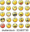 Set of 25 smiley faces: in various facial expressions. Easy to edit and transform: line-art and colors placed in different layers. - stock vector