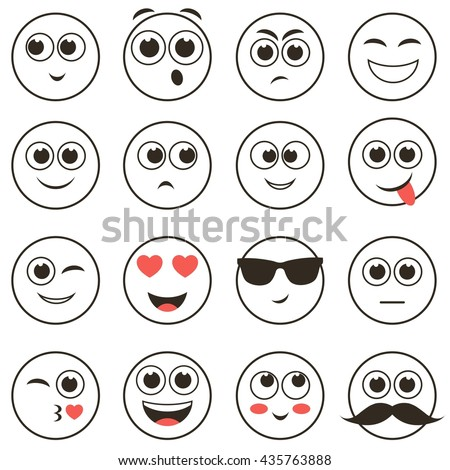 set of smiley faces isolated on white - stock vector