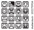 Set of 16 smiley faces of people characters - stock vector