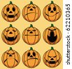 Set of 9 smiley pumpkin faces: in various facial expressions - stock vector