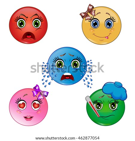 Set of smileys. Angry, happy, crying, love, sick emoticon on white background.