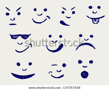 Set of smileys. Doodle style - stock vector