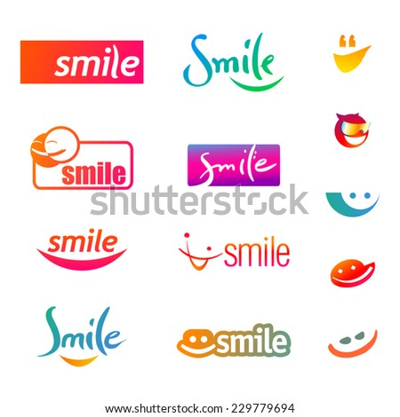 Set of smileys icons isolated on a white background. Vector illustration. - stock vector