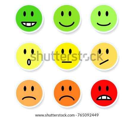 Set Smileys Mood Color On White Stock Vector 765092449