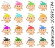 Set of smilies girls with colored hair, symbolising various human emotions. Vector - stock vector