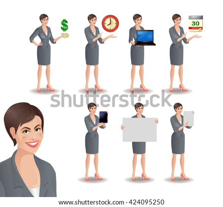 Set of smiling businesswoman standing in different presentation poses: with dollars, clock, laptop, tablet, calendar, placard, sheet of paper. Vector illustration isolated on white background. - stock vector