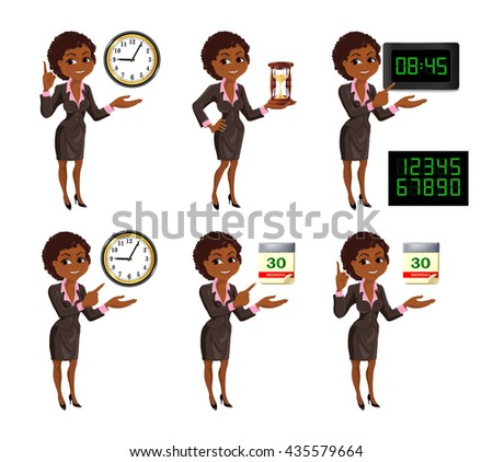 Set of smiling cartoon African American business woman points to the deadline. Girl in suit with clock, hourglass, digital clock and tear-of calendar. Vector illustration isolated on white background. - stock vector