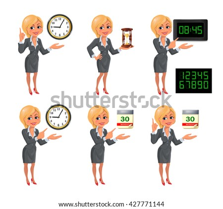 Set of smiling cartoon businesswoman points to the deadline. Blond girl in suit with clock, hourglass, digital clock and tear-of calendar. Vector illustration isolated on white background. - stock vector