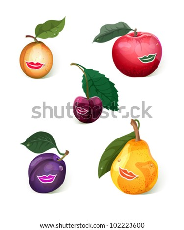 Set of 5 smiling fruits: apple, pear, prune, apricot, cherry. - stock vector