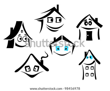 Set of smiling houses for real state design. Jpeg version also available in gallery