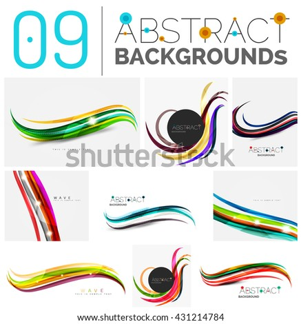Set of smooth abstract backgrounds - wave motion concepts. Infinity space templates with sample text. Business card and identity design elements - stock vector