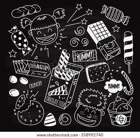 Set of Snack doodle on chalk board - stock vector