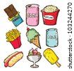 set of snack in doodle style - stock photo