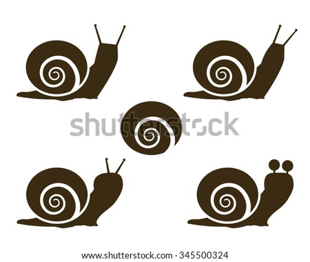 Set of Snail icon and signs - stock vector