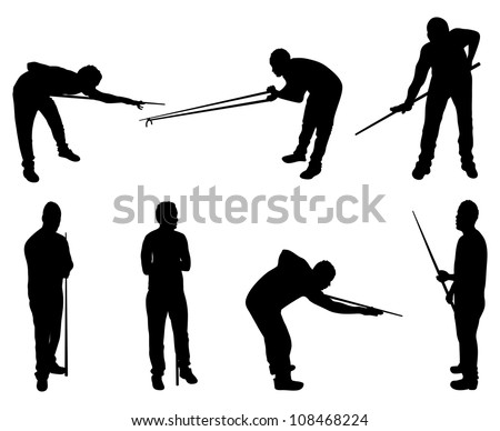 set of snooker player silhouettes - stock vector