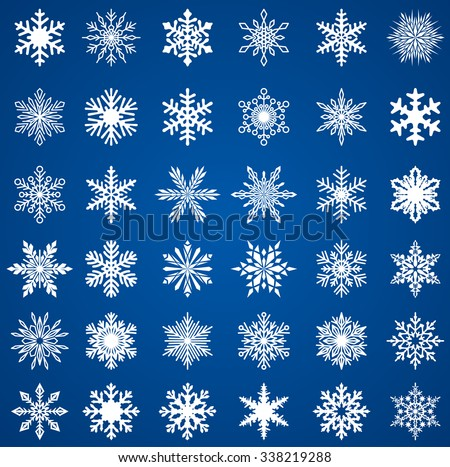 Set of snow flakes, EPS 8 - stock vector