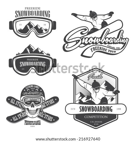 Set of snowboarding emblems, labels and designed elements. Extreme theme, winter games, outdoors adventure. Set 2 - stock vector