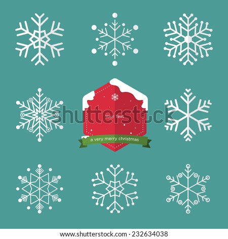 Set of snowflake in flat design and christmas badge - stock vector