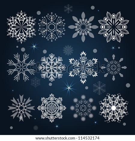 Set of snowflake shapes isolated on dark blue background. - stock vector
