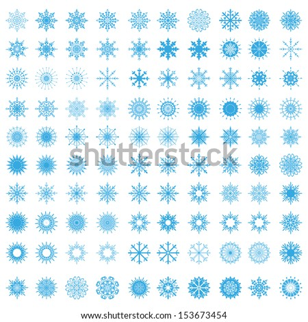 set of 100 snowflakes - stock vector