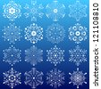 set of snowflakes. elements grouped. layered vector for easy manipulation - stock photo