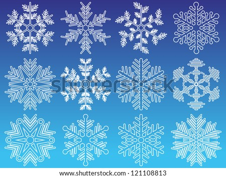 set of snowflakes. elements grouped. layered vector for easy manipulation