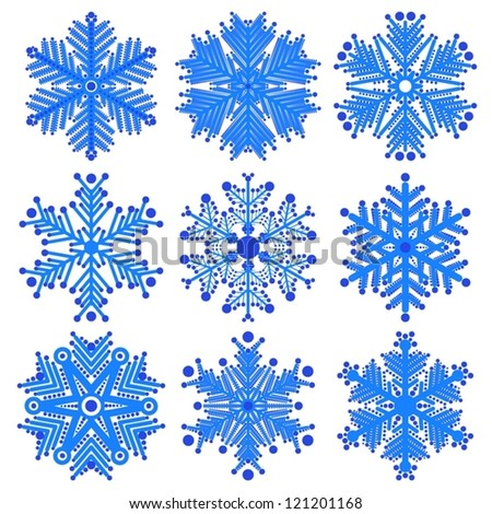 set of snowflakes. global colors used. elements grouped. layered vector for easy manipulation