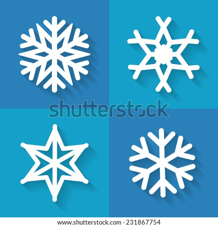 Set of snowflakes icons in flat style, vector illustration - stock vector