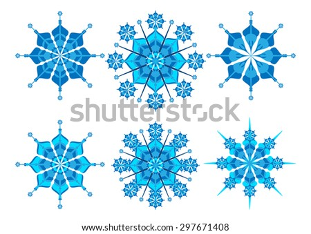 Set of snowflakes isolated on background. Christmas cards, banners, weather and holiday decorations - stock vector