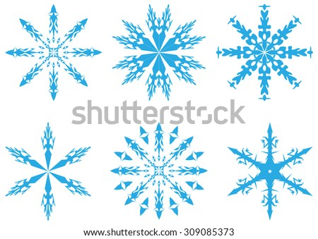 Set of snowflakes isolated on background. Christmas cards, banners, weather and holiday decorations