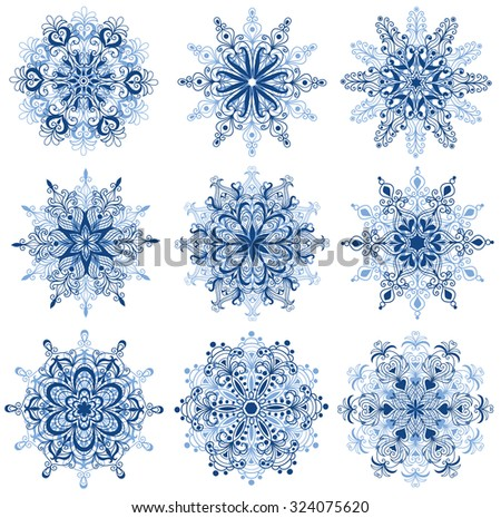 Set of snowflakes. Isolated on white. - stock vector