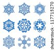 Set of snowflakes isolated on white, vector elements for winter design - stock vector