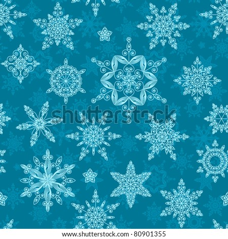 Set of snowflakes of different designs and sizes. Seamless.