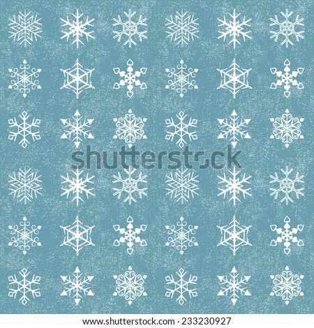 Set of snowflakes on a grunge background (9 different snowflakes) . It's also a seamless pattern.