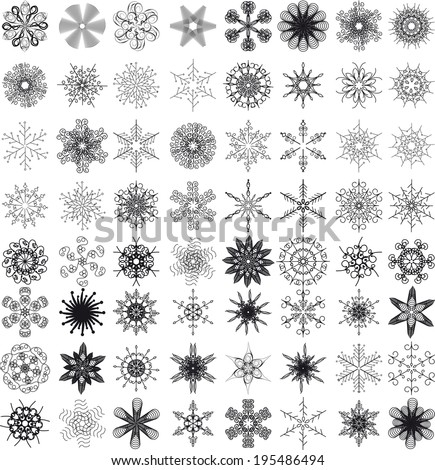 set of snowflakes or flowers or design elements. multifunction universal collection of vector units - stock vector