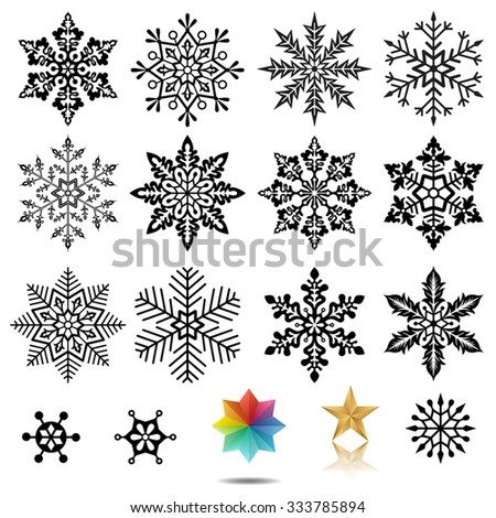 Set of snowflakes vector illustration. Saved in EPS 10 file with no transparencies. Well constructed for easy editing. Hi-res jpeg file included (5000x5000). - stock vector