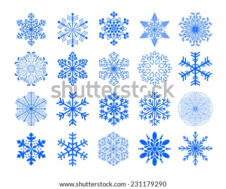 set of snowflakes, vector version - stock vector