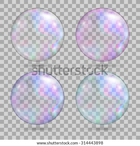 Set of soap water bubbles. Transparent realistic design elements. Isolated on transparent background. Vector illustration, eps 10. - stock vector