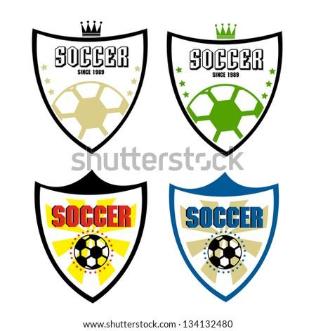 set of soccer badge - stock vector