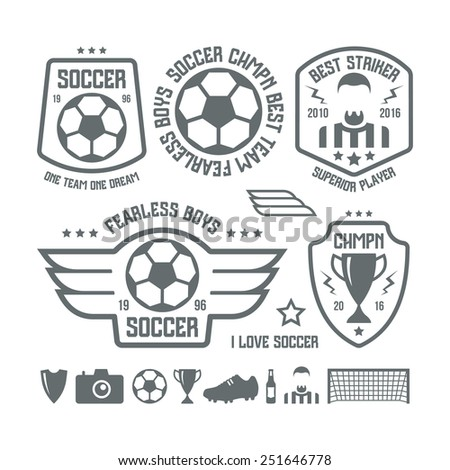 Set of soccer emblems and icons. Black print on a white background - stock vector