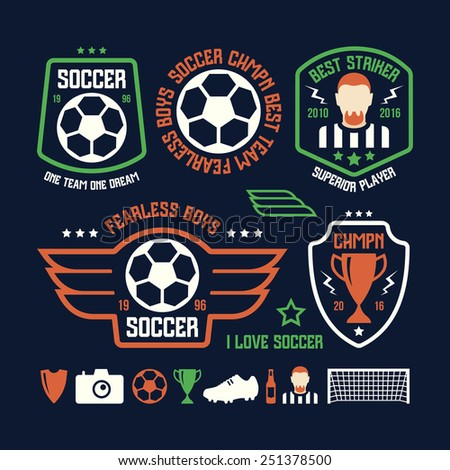 Set of soccer emblems and icons. Color print on a black background - stock vector