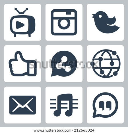 Set of social icons - stock vector