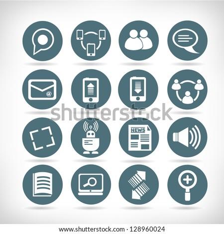 set of social media buttons, web application icon set - stock vector