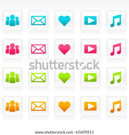Set of social media icons. - stock vector