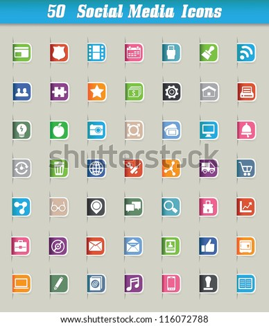 Set of 50 social media icons and paper cut - vector icons - stock vector