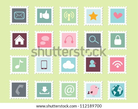 set of social media postage stamp icon collection - stock vector